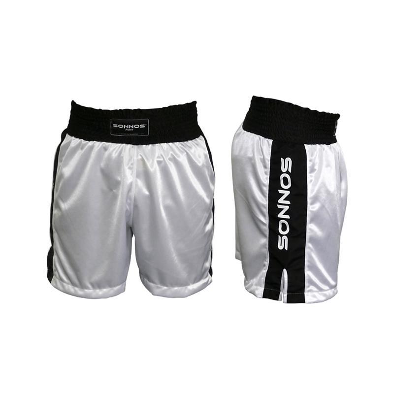 SHORT BOXEO SONNOS TRICOLOR (XS-S-M-L-XL)(homologado competitivo) Blanco S